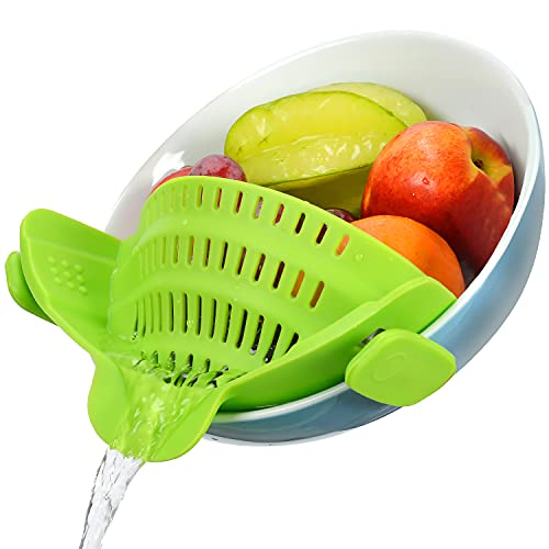 Geniusidea Upgraded Clip on Pot Strainer Silicone Colander Heat Resistent for Pasta Grease Vegetable Fruit Spaghetti Fits Most Pans Bowls Kitchen Gadgets Chef Gifts