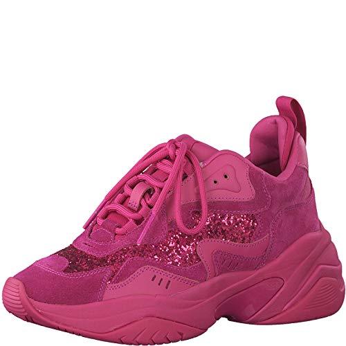 Tamaris Damen Schnürhalbschuhe, Frauen sportlicher Schnürer,lose Einlage, Sneaker freizeitschuh Ugly-Sneaker dad-Shoe,HOT PINK Uni,37 EU / 4 UK