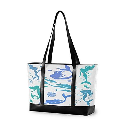 MOFEIYUE Laptop-Tasche, 39,6 cm (15,6 Zoll), Meerjungfrau, Fische, Canvas, Schultertasche, große Handtasche, für Arbeit, Business, Schule, Reisen