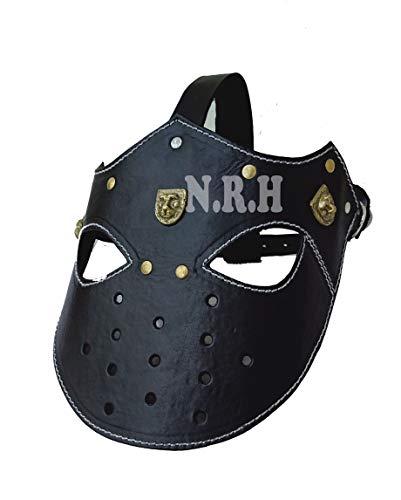Máscara de piel de color negro medieval para casco Larp Sca