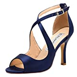 ElegantPark HP1820 Navy Blue Heels Strappy Sandals for Women Wedding Sandals Peep Toe High Heel Sandals Satin Party Prom Evening Dress Shoes Buckle US 8