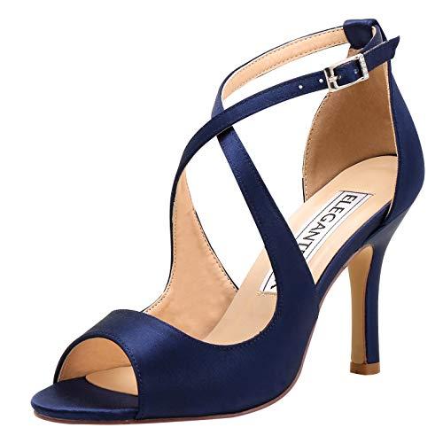 ElegantPark HP1820 Navy Blue Heels Strappy Sandals for Women Wedding Sandals Peep Toe High Heel Sandals Satin Party Prom Evening Dress Shoes Buckle US 9