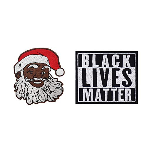 African American Santa Claus Embroidered Iron on Patch Black Lives Matter