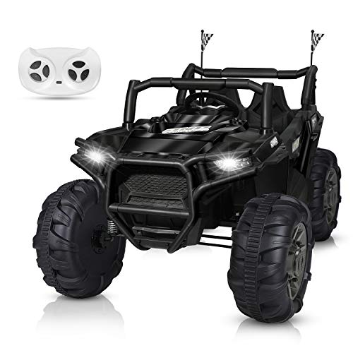 BAHOM 12V Kids Ride on Truck 2 Seater Electric Cars for Toddlers with Remote Control, LED Light MP3/Bluetooth Music Player, Easy to Assemble (Black)