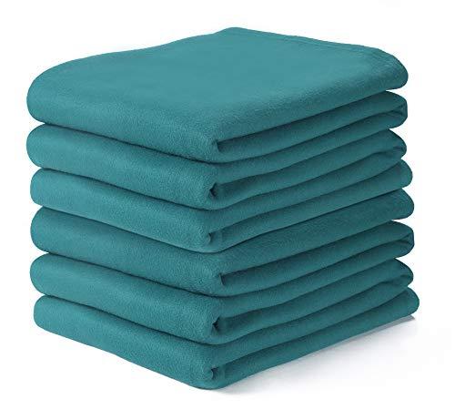 Farmhouse Throw Blanket in Fleece ,Polar Fleece Twin Blanket 70x90 Teal, Extra Soft Brush Fabric - Super Warm Bed Blanket - Lightweight Couch Blanket,Luxury Fleece Blanket, Easy Care
