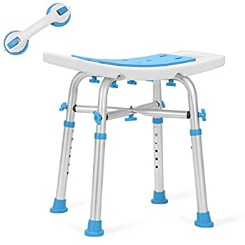 Health Line Massage Products Heavy Duty Shower Stool 550lb Bath Seat Chair Tool-Free Assembly Height Adjustable Paded Seat Bench w/Assist Grab Bar for Seniors Elderly Disabled Handicap and Injured