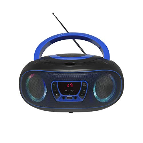 Denver Electronics TCL-212BT Blue - CD-Player (4 W, FM, Extern, Tragbarer CD-Player, Schwarz, Blau, 3,5 mm)