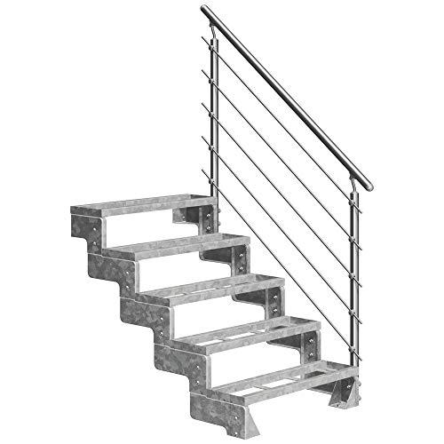 DOLLE Außentreppe Gardentop mit 5 Stufen   Geschosshöhe 90-110 cm │ Stufenauflage Einlegestufen │ Stufenbreite: 100 cm   mit Prova-Geländer