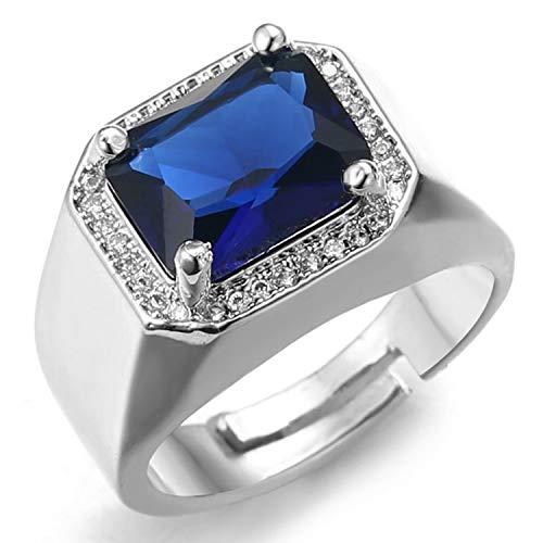 HALUKAKAH Anillo de Diamantes con Cristal de Piedras Preciosas Azules,Hombres Chapado en Platino de Oro Blanco Real 18k Auricular Diamantes de Laboratorio Tamaño Ajustable con Caja