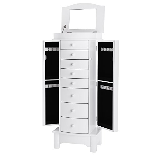 SONGMICS Jewellery Armoire, Large Capacity Storage Stand Organiser, Freestanding Wooden Jewellery Cabinet with Mirror Velvet Lining 8 Drawers, Nordic Style, White JBC17W