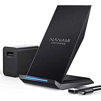 NANAMI Fast Wireless Charger Qi Certified Charging Stand[with QC3.0 Adapter] 7.5W Compatible iPhone 12/SE 2020/11 Pro/XS Max/XR/X/8 Plus,10W for Samsung Galaxy S21/S20/S10/S9/S8/Note 20Ultra/10/9/8/5