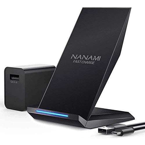 NANAMI Fast Wireless Charger, Qi Certified Charging Stand[with QC3.0 Adapter] 7.5W Compatible iPhone...