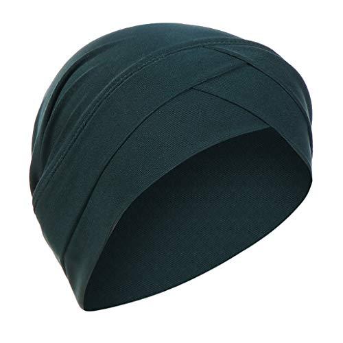 Lazzboy Kopftuch Chemo Cancer Mütze Seide Gefütterte Ethnic Cloth Turban Cap Für Frauen Solid India Hut Muslim Ruffle Beanie Wickelschal(Grün)