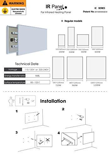 ColdFighting Geringer Rabatt 600 * 1000mm 600W Bild Fernes Infrarot -Panel Elektrische Heizung Wand Heizung Bild 2*