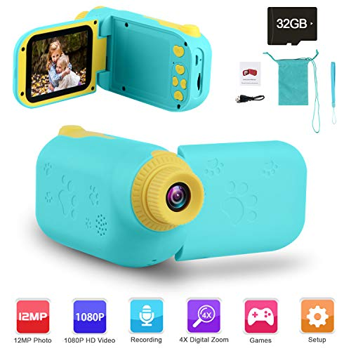 """GKTZ Video Camera Camcorder Digital for Kids, Children's Toys DV Cameras Recorder with 2.4"""" 1080P FHD Screen for Age 3-10 Year Old Boys Girls Birthday Gifts,Including 32GB Memory Card - Blue"""