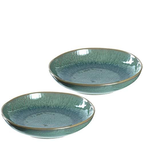 Leonardo Matera tiefe Keramik-Teller, 2-er Set, spülmaschinengeeignete Speise-Teller mit Glasur, 2 runde Steingut-Teller, Ø 20,7 cm grün, 026987