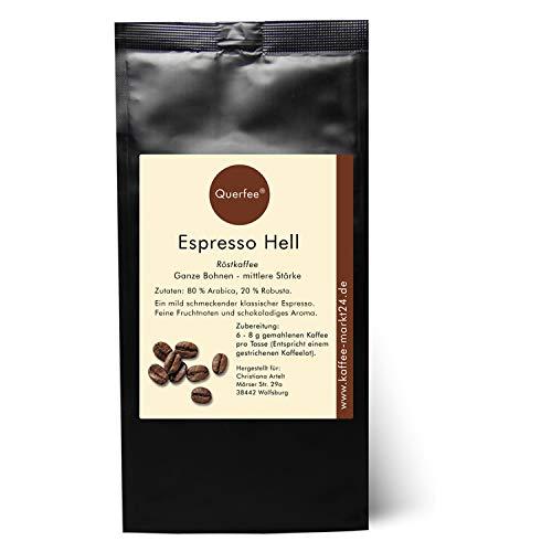 Querfee - Espresso Bohnen - Kaffeebohnen - Espresso Hell als Ganze Bohnen - Traditionelle Trommelröstung aus Hamburg - Espresso Mittelkräftig im Geschmack, typisch italienisch (1000 g)