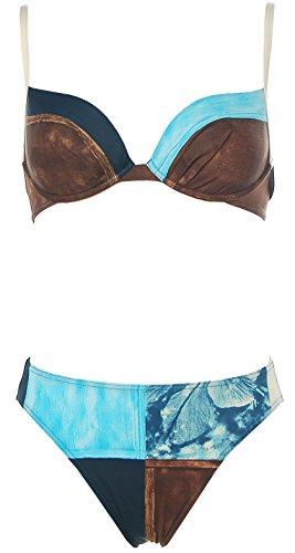 Rasurel EDEL BÜGEL Bikini BRAUN BLAU, Gr.: 36 C