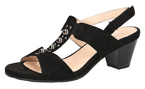 CAPRICE 28311-22 Damen Riemchensandale,Sandale,Sandalette,Sommerschuh,Absatz,(4) Black Suede,40.5 EU / 7 UK