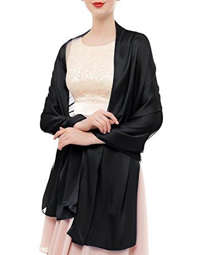 bridesmay Seide Halstuch 180 * 90cm Stola Schal Seidenschal Festlich Hochzeit für Kleider in verschiedenen Farben-Black