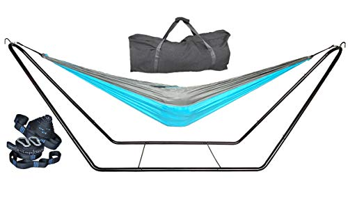 cutequeen Steel Stand with Hammock and Tree Straps Hold Up 450Lbs (Grey/Sky Blue)