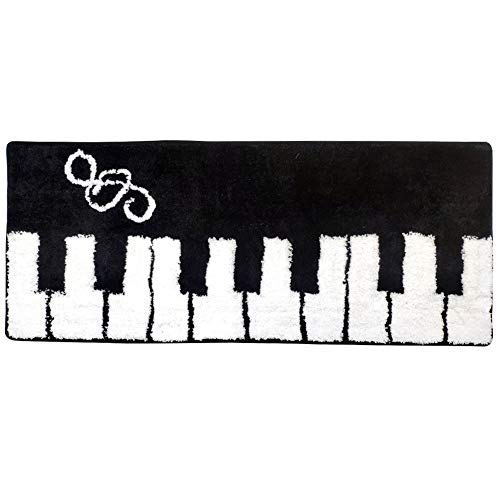 Satbuy Black Piano Keyboard Music Rug, Home Decoration Washable Floor Rug Living Room Floor