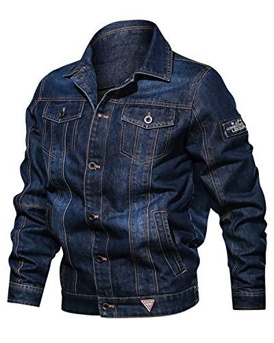 Maavoki Herren Klassische Jeansjacke Denim Trucker Jacket Stehkragen Herbst Casual Leichte Bikerjacke mit Taschen-Blau-M