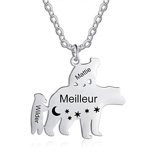 JewelOra Collar para Mujer Collar con Nombre Personalizado para la Familia 1-8 Osos bebés y 1 Colgante de Madre Oso para Regalo de Madre e Hija para Ella (1 Oso mamá y 2 Ositos bebé)