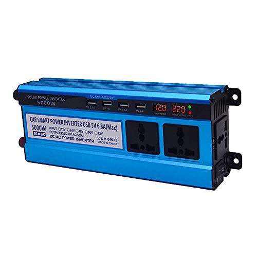 FDQNDXF Inversor de Onda Sinusoidal Modificada 3000W / 4000W / 5000W Inversor de Coche 12V / 24V DC a 220V AC Convertidor de Voltaje con Puertos USB y Enchufes, para Familias/Exteriores