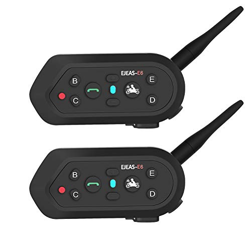 EJEAS E6 Casco de Motocicleta Intercomunicador Bluetooth para 6 Corredores 1200m con Sonido de Alta Fidelidad VOX Función de Música Impermeable para Montar, Esquiar y Escalar (Paquete de 2)