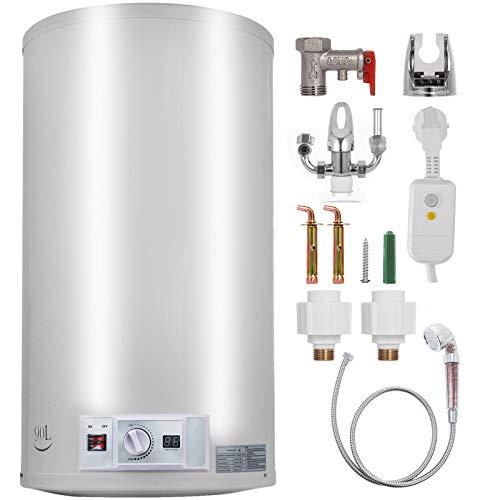 FlowerW Elektrischer Warmwasserbereiter 1 kW / 2 kW Elektrischer Durchlauferhitzer 90 L Temperatureinstellbereich 30-75 ℃ 0,7 MPA Wasserdruck mit Tank Warmwasserbereiter für Küche,Bad
