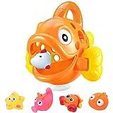 Baby Badespielzeug, Kleinkind Badespielzeug, Badespiel, Kinderbadespielzeug, Cartoon Badespielzeug Set Float Fish Catching Toys für Badewannenspiel Badespielzeug