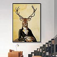 キリンライオンゼブラカブポスター動物の壁のキャンバスアート壁のアートポスター北欧スタイルのプリント絵画自然の装飾の写真-40x60cmフレームなし