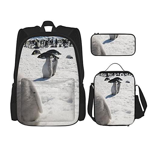 Leuke Penguin Print Rugzak voor Jongens Tieners Boekentas Reizen Dagrugzak, Lunch Bag en Potlood Case combinatie