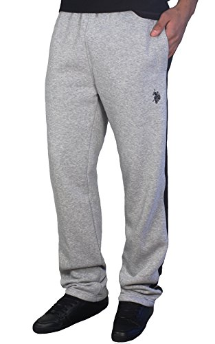 U.S. POLO ASSN. Men's Side Stripe Fleece Pants, Heather Grey with Side Tape, X-Large
