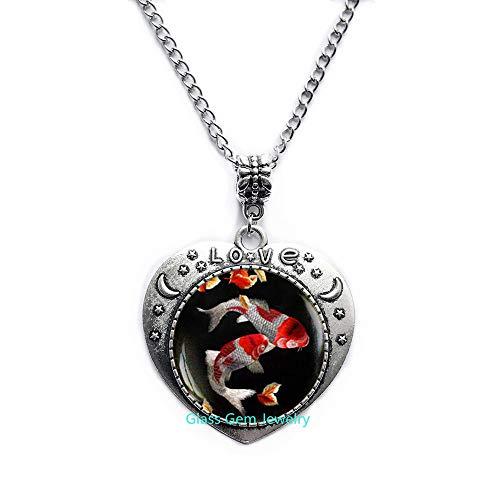 Koi-Fisch-Halskette, japanischer Koifisch, japanischer Kunst-Anhänger, Koi-Fischkunst, asiatische Kunst-Halskette, Q0093