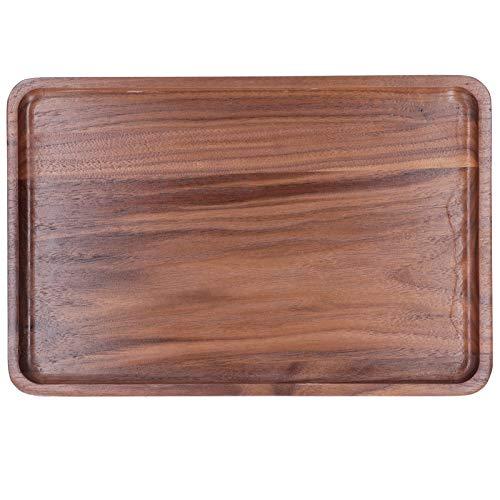 Bandeja rectangular para servir, bandeja para té/bebidas de nogal, respetuosa con el medio ambiente, para refrigerios, cenas y desayunos(30 * 20 * 2, blue)