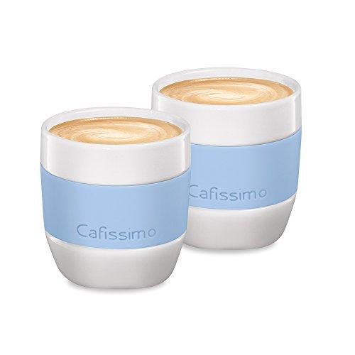 Tchibo Cafissimo Becher oder Tassen aus Porzellan mit Silikonmanschette, 2er Set (Kaffeebecher, hellblau)