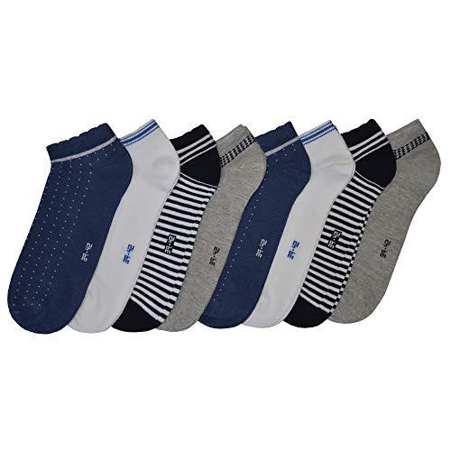 OCERA 8 Paar Sneaker Socken für Damen in vielen Farben & Mustern Streifen, Weiß, Blau, Grau 39/42