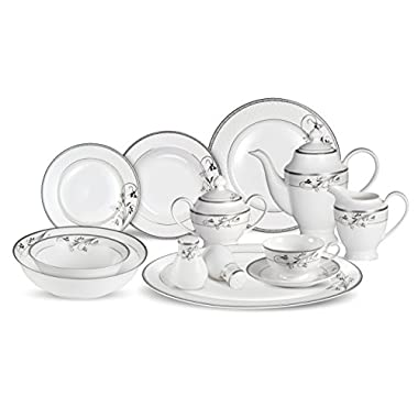 Lorenzo 57 Piece Elegant Bone China Service for 8 Viola Dinnerware Sets, Silver