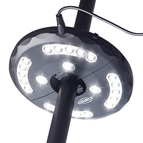 CHINLY LED Schirmleuchte Wiederaufladbare 28 LEDs 3 Level Dimming-Modi, Lade-Umbrella Pole Light für Terrasse Regenschirme, Outdoor-Einsatz, oder Camping Zelte Weiß[Energieklasse A+]