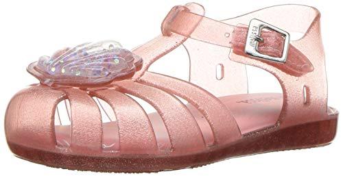 Mini Melissa Girls' Mini Aranha XII Flat Sandal, pink dusty glitter, 5 Medium US Toddler