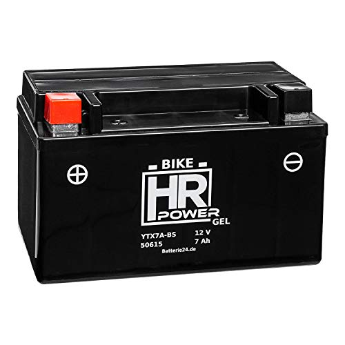 HR Bike Power GEL Motorradbatterie YTX7A-BS 50615 12V 7Ah