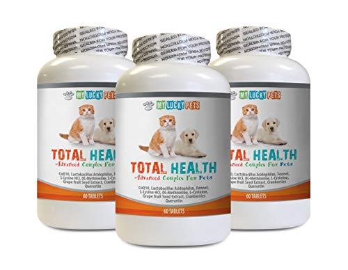Dog Skin and Coat Supplements - Pets Total Health Complex - Dogs and Cats - Best Hair Skin Eye Teeth Nail Urinary Support - Grapefruit Seed Extract for Dogs - 3 Bottles (180 Tablets)