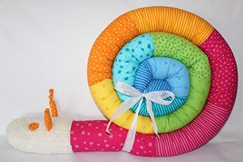 Bettschnecke 300 cm Design 2020 JUNIA-SHOP.de Nestchen Bettrolle Bettschlange Baby Geburt Taufe Puckschnecke Bettwurm Bettumrandung kunterbunt Regenbogen 3 m