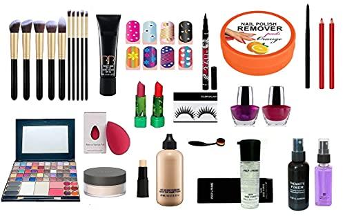 Eaglehunt Mac Combo Makeup Kit For Girls (set of 24) 50 color Eyeshadow makeup kit, 10 set of makeup brush, 4 lipstick, linear, Eyelashes, tube primer, Kajal, concealer, puff, losses powder, face &body Foundation, primer, Lipliner