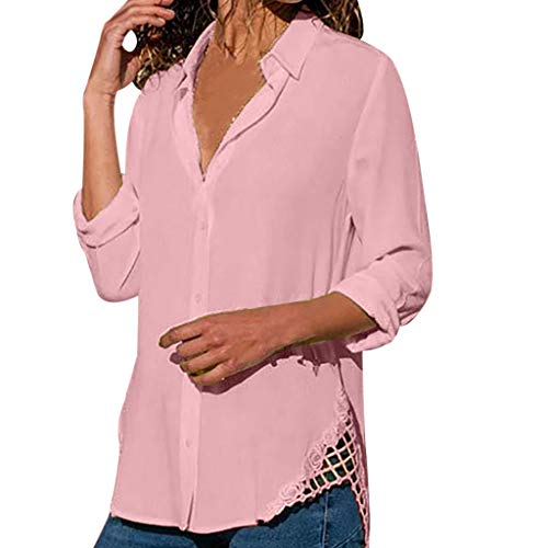 Alangbudu Women Side Lace Hollow Out Curved Hem Tops Button Pullover Long Sleeve Loose Blouse Casual Sweatshirt Tunic Pink