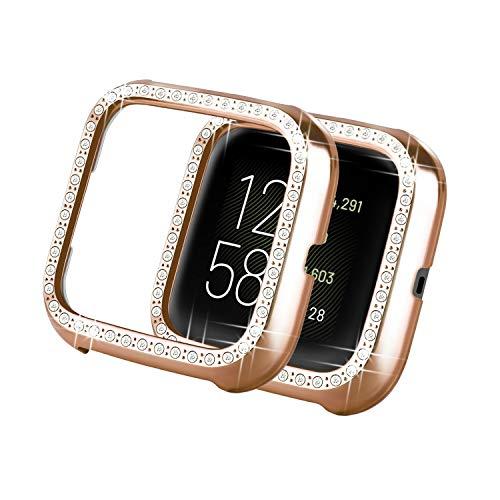 Yolovie Kompatibel für Fitbit Versa 2 Hülle Harter PC Bling Gehäuse mit glitzernden Strass-Steinen in Diamant Gestell Schutzhülle Stoßstange Fraue (Rosé Gold)
