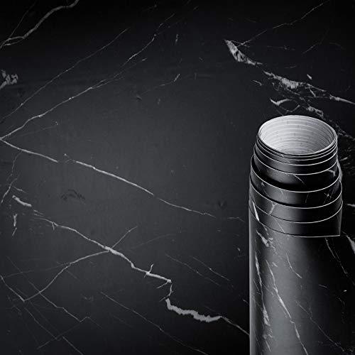 AWNIC Klebefolie Marmor Schwarz Möbelfolie Mamorfolie Selbstklebend Dekorfolie Fensterbank Küchenarbeitsplatte Schrankfolien Wasserfest 500x60cm