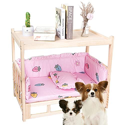 Lin Xin Camas para Perros Cama De Madera Elevada para Mascotas con Ropa De Cama Sofá De Cuna para Mascotas De Interior Desmontable A Prueba De Humedad para Todas Las Estaciones(Color:Standard)